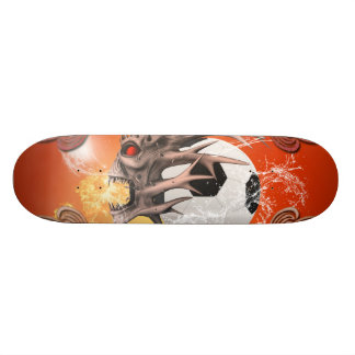 Soccer with skull, fire and water skate board decks