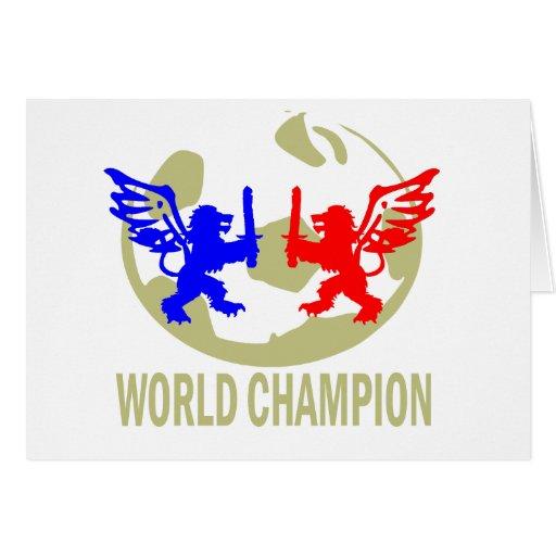 SOCCER WORLD CHAMPION LIONS GREETING CARD