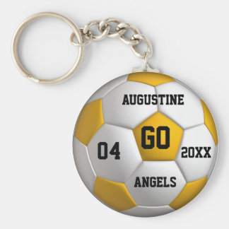 Soccer yellow and white Keychain with Player Name