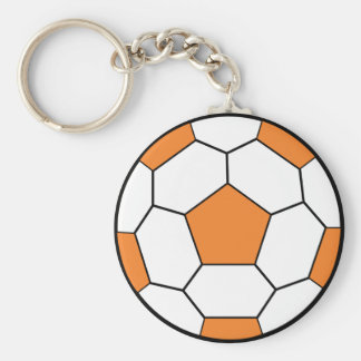 soccerball-orange basic round button key ring