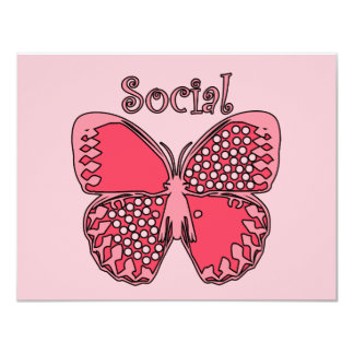 Social Butterfly 11 Cm X 14 Cm Invitation Card