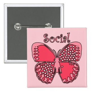 Social Butterfly 15 Cm Square Badge
