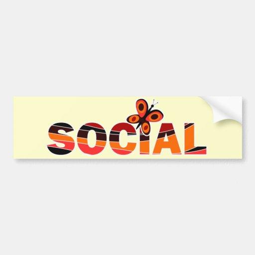 Social butterfly bumper sticker