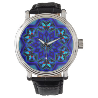 Social Butterfly Custom Black Vintage Leather Wrist Watches