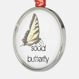 Social Butterfly Silver-Colored Round Decoration