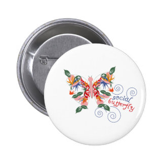 Social Butterfly Pinback Buttons