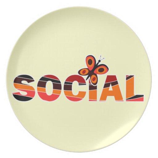 Social butterfly dinner plate