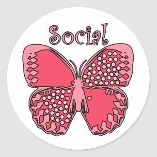 Social Butterfly Round Sticker