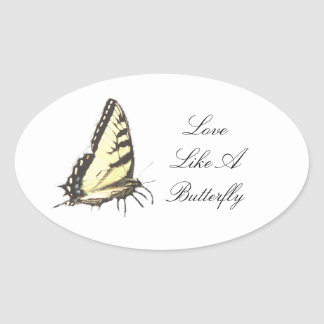 Social Butterfly Oval Stickers