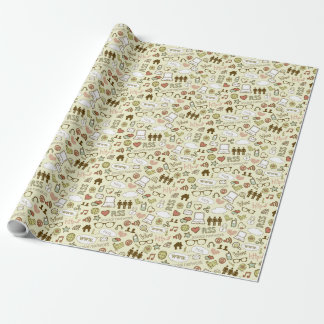 Social Media Addict Pattern Wrapping Paper