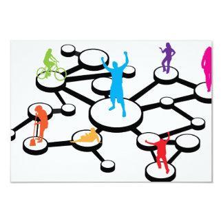 Social Media Connections Diagram 3.5x5 Paper Invitation Card