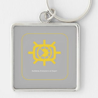 Social Media graphic Silver-Colored Square Key Ring