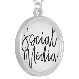 Social Media Lovers Typography Silver Plated Necklace