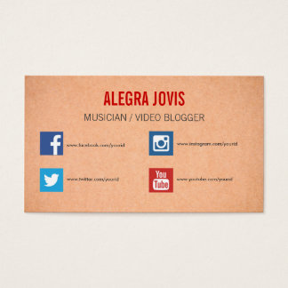 SOCIAL MEDIA MUSICIAN YOU TUBE BUSINESS CARD