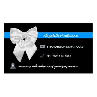 Social Media Visiting Card Girly White Bow Business Cards