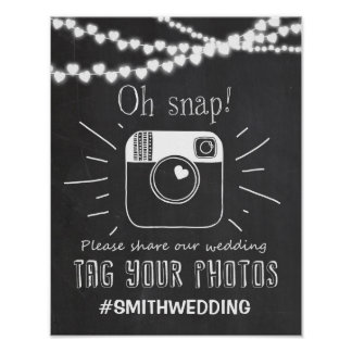 Social media wedding hashtag sign Instagram