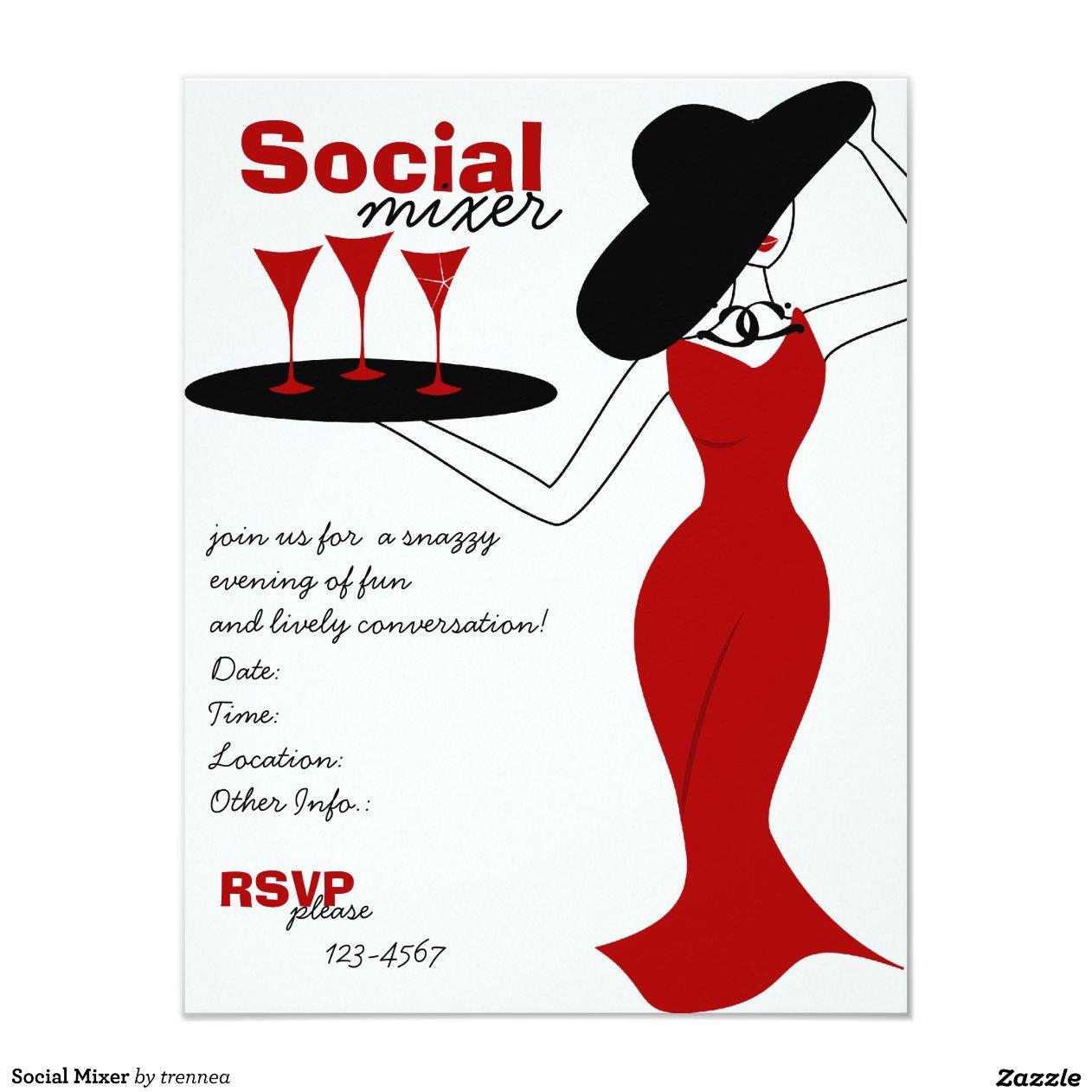 Social Mixer 11 Cm X 14 Cm Invitation Card