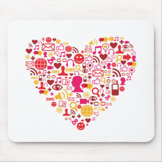 Social Network Heart Mouse Pad