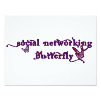"""Social Networking Butterfly 4.25"""" X 5.5"""" Invitation Card"""