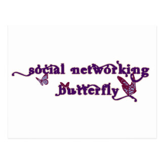 Social Networking Butterfly Postcard