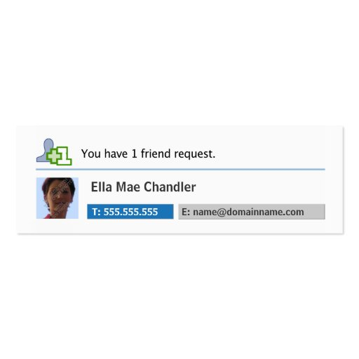 Social Networking - You Have 1 Friend Request Business Card Templates