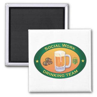 Social Work Drinking Team Square Magnet