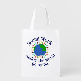 Social Work Makes the World Go Round Reusable Grocery Bag