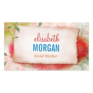 Social Worker - Artistry Watercolor Floral Pack Of Standard Business Cards