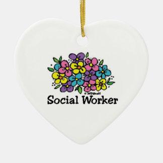 Social Worker Blooms Ceramic Ornament