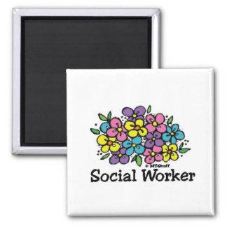 Social Worker Blooms Square Magnet