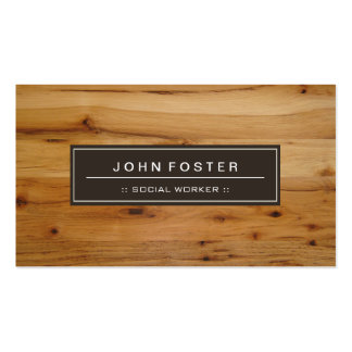 Social Worker - Border Wood Grain Pack Of Standard Business Cards