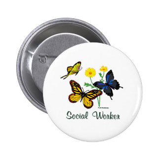 Social Worker Butterflies 6 Cm Round Badge