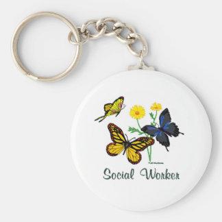 Social Worker Butterflies Basic Round Button Key Ring