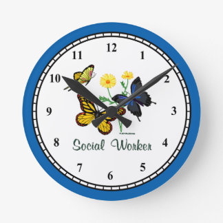 Social Worker Butterflies Clock