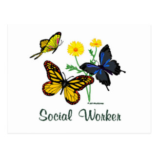 Social Worker Butterflies Postcard