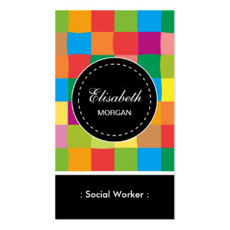 Social Worker- Colorful Sqaure Pattern Pack Of Standard Business Cards