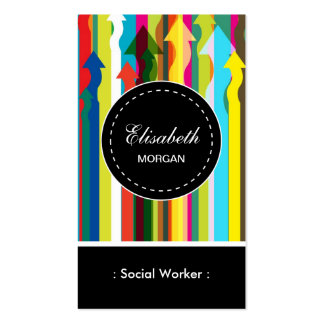 Social Worker- Colorful Stripes Pattern Pack Of Standard Business Cards
