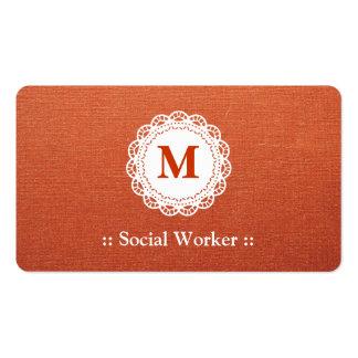 Social Worker Elegant Lace Monogram Pack Of Standard Business Cards