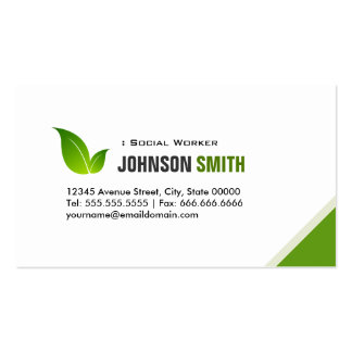 Social Worker - Elegant Modern Green Pack Of Standard Business Cards