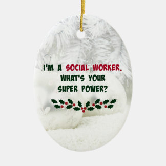 Social Worker Humor, Holiday Colors Ceramic Ornament