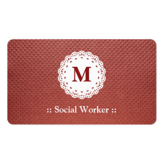 Social Worker Lace Monogram Maroon Pack Of Standard Business Cards