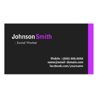 Social Worker - Modern Minimal Purple Pack Of Standard Business Cards