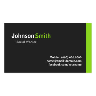 Social Worker - Modern Minimalist Green Double-Sided Standard Business Cards (Pack Of 100)