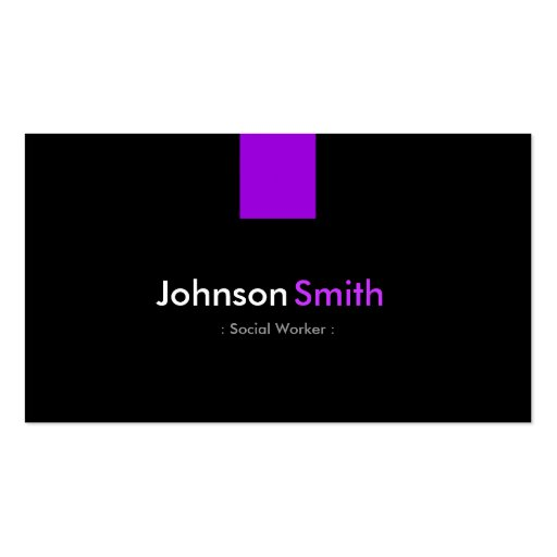 Social Worker - Modern Purple Violet Business Card