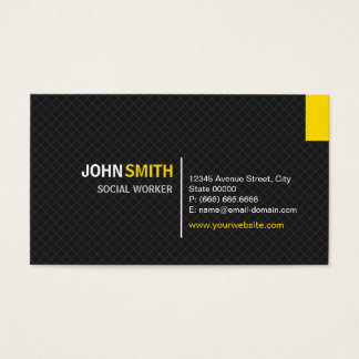 Social Worker - Modern Twill Grid Business Card