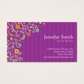 Social Worker - Purple Nature Theme Business Card