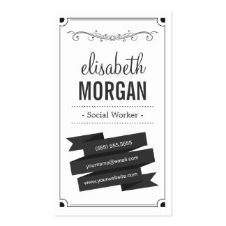 Social Worker - Retro Black and White Pack Of Standard Business Cards