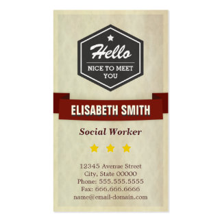 Social Worker - Retro Grunge Style Pack Of Standard Business Cards