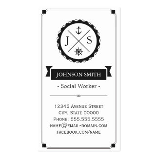 Social Worker - Retro Nautical Monogram Pack Of Standard Business Cards