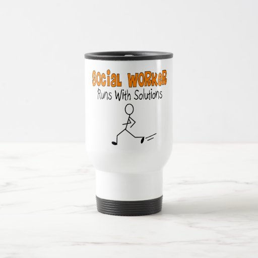 """Social Worker """"Runs with Solutions"""" Funny Gifts Coffee Mug"""
